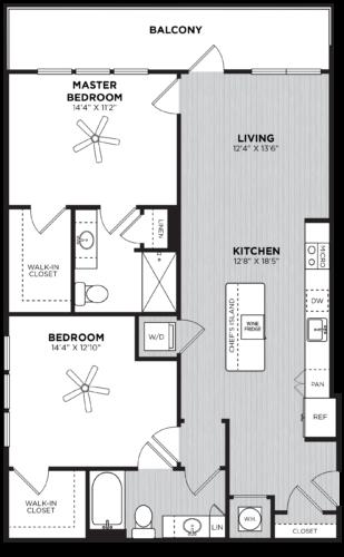 Two bedroom floor plan at Alexan Buckhead Village