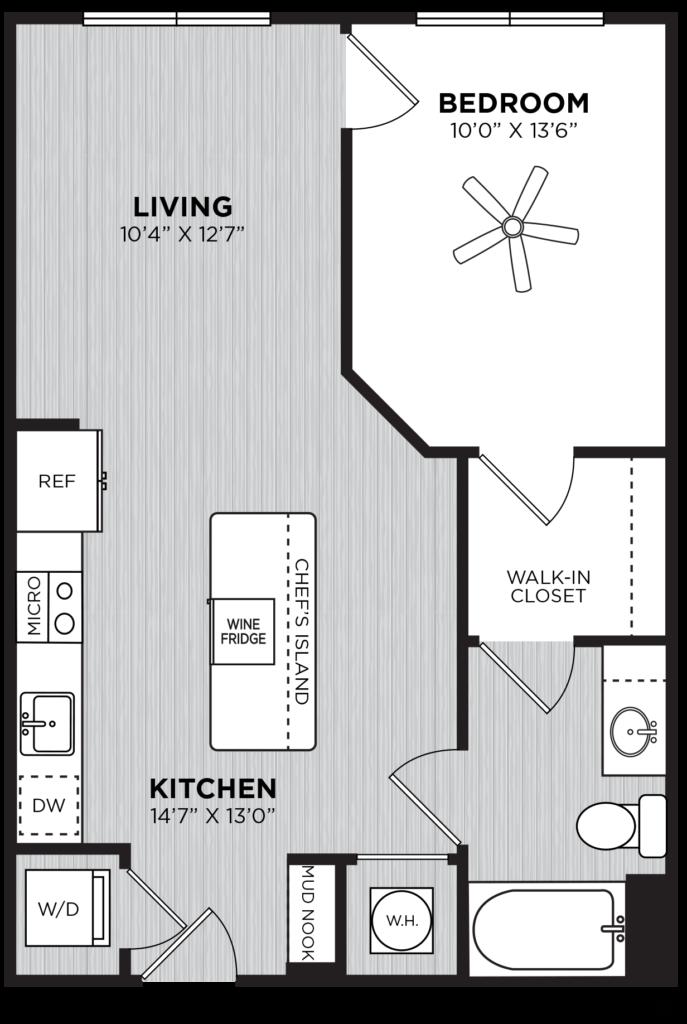 One bedroom floor plan at Alexan Buckhead Village