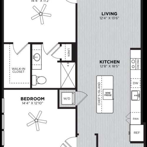 Moet two-bedroom luxury apartment floorplan - Flexible Two-Bedroom Atlanta Apartments