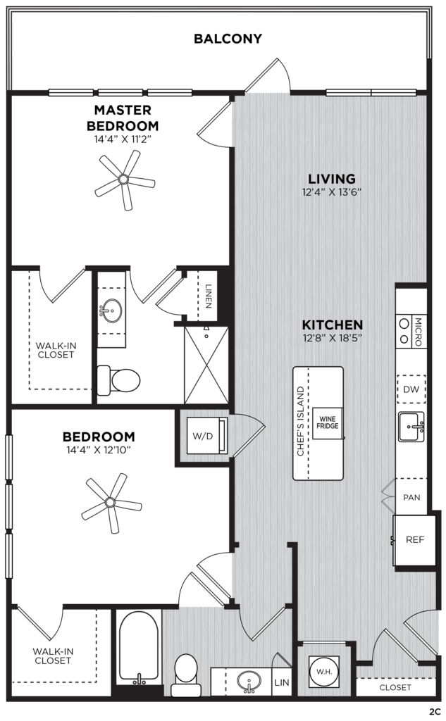 Moet two-bedroom luxury apartment floorplan - Flexible Two-Bedroom Atlanta Apartments