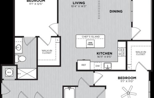 Taittinger two bed/two bath floorplan - Luxury Two-Bedroom Atlanta Apartments
