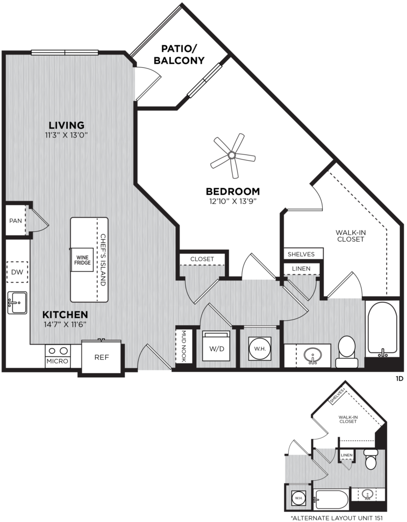 Lanson One Bed/One Bath Luxury Apartment Floorplan -Fantastic One-Bedroom in Atlanta